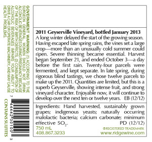 Ridge Vineyards 2011 Vintage with Ingredients Statement on Label