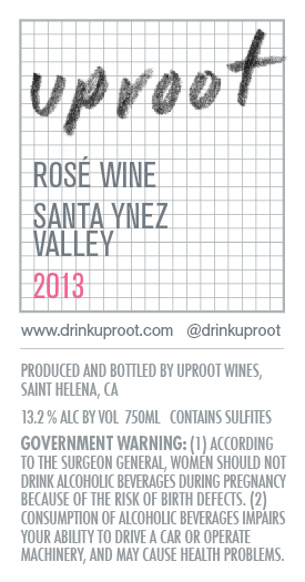 Uproot Wines Rose Wine True Back Label