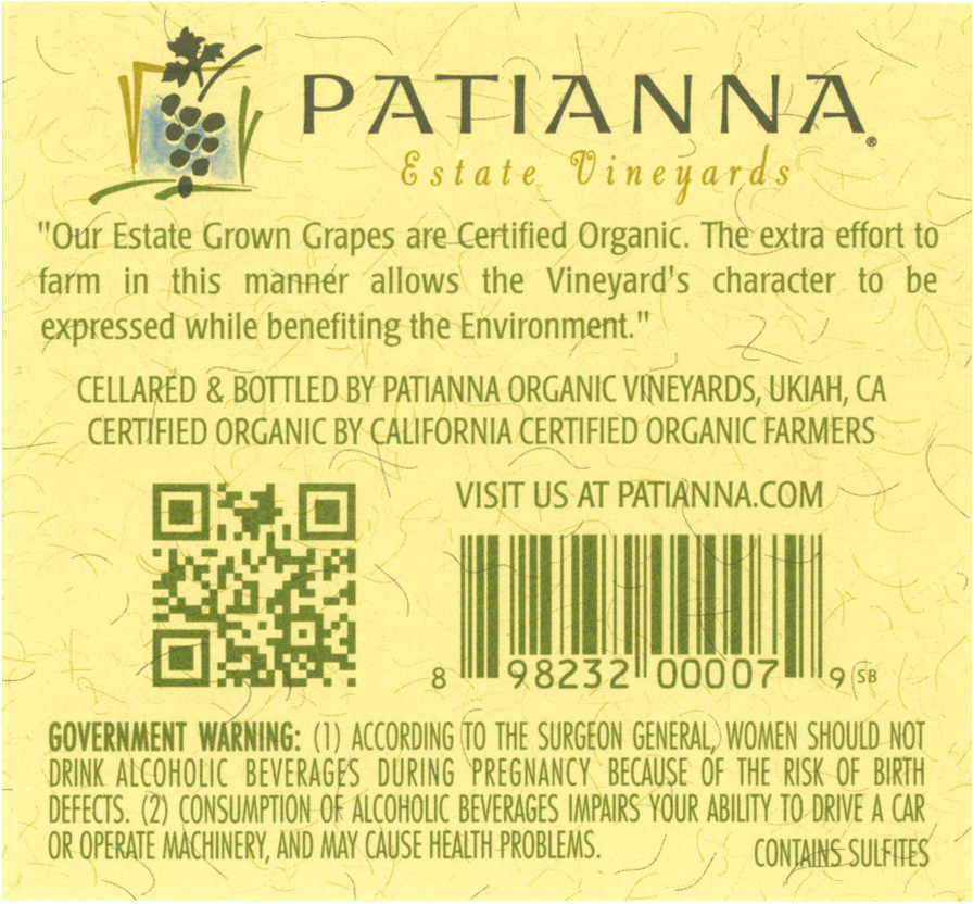 Organic Wine Label Certification Statement as required by TTB