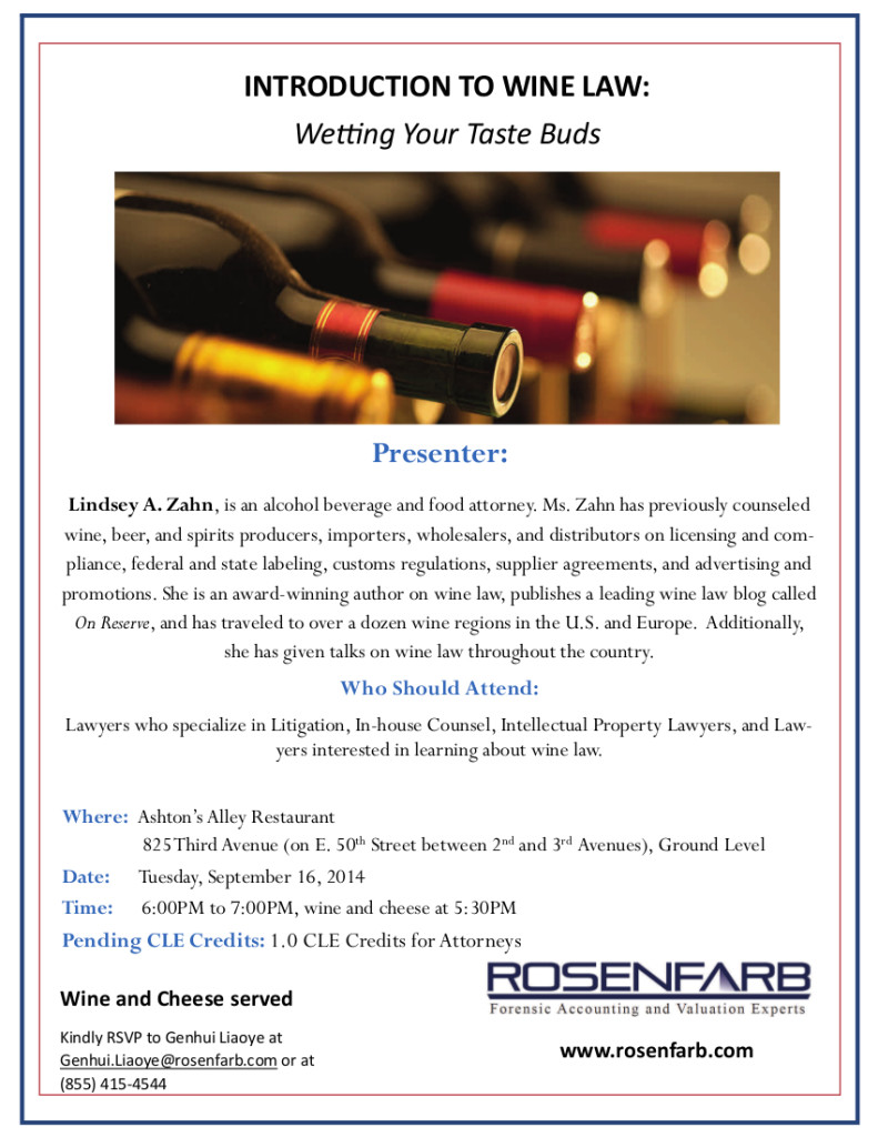 On Reserve Author to Speak at Wine Law CLE