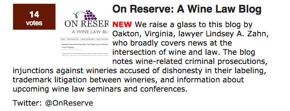 On Reserve Wine Law Blog Top 100 Blawgs American Bar Association