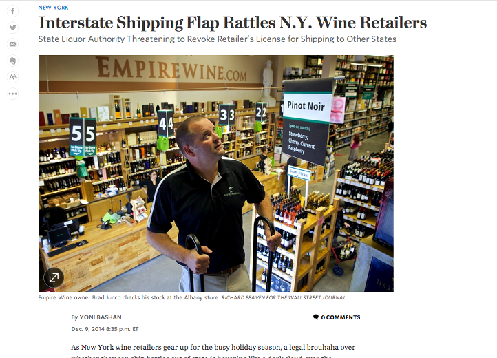 Interstate Shipping-Flap Rattles N.Y. Wine Retailers