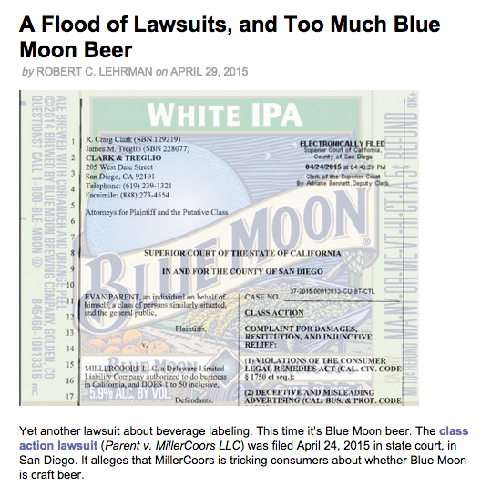 A Flood of Lawsuits and Too Much Blue Moon Beer