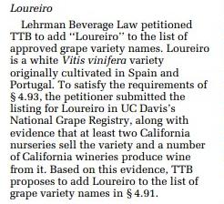 Loureiro petition grape variety American wine TTB