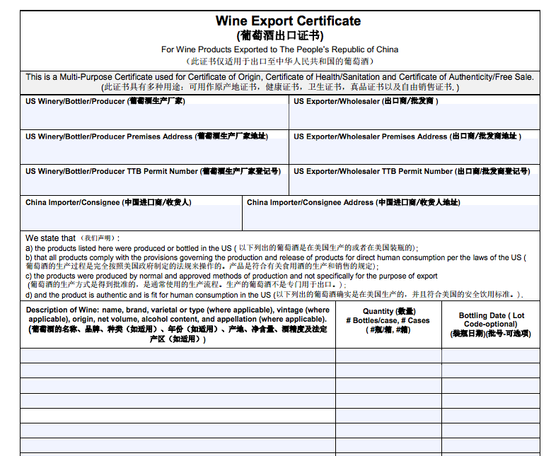 Ttb Issues Public Guidance On Wine Export Certificates For Us